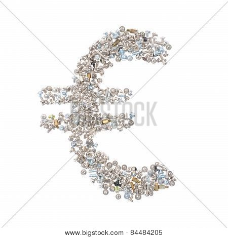 Eur Symbol Made From Nuts And Bolts, Isolated On White Background
