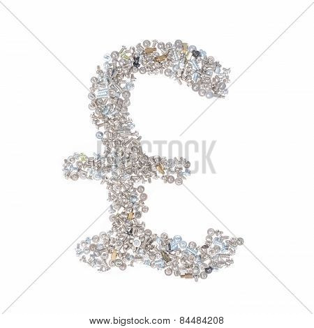 Pound Sterling Symbol Made From Nuts And Bolts, Isolated On White Background