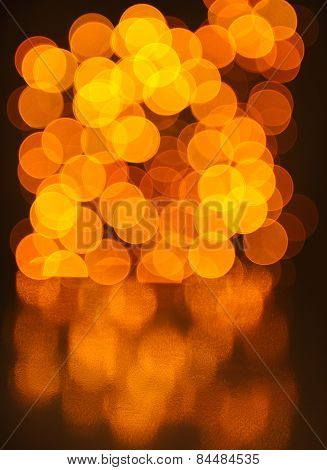 Glowing Bokeh Lights Background With Reflection