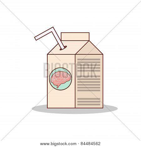 Isolated cartoon drink brain juice on a box