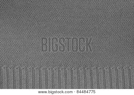 Gray Knitted Background Pattern, Detail