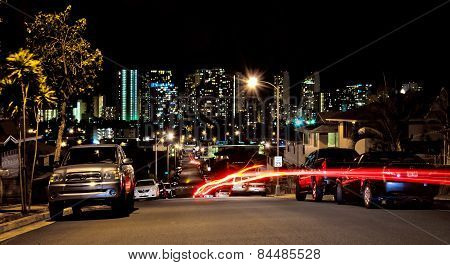 Night View Of Honolulu Skyline