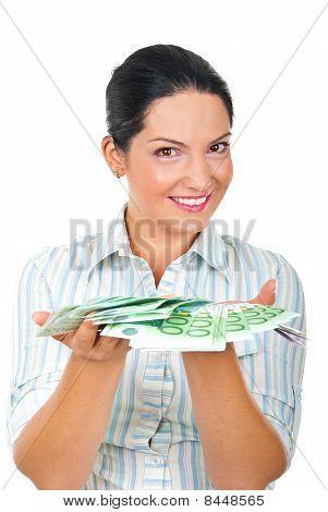 Happy Woman Angebot Geld