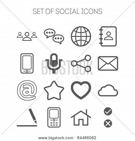 Set of simple social monochromatic icons