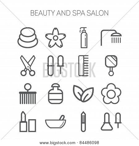 Set of simple icons for beauty, spa, salons, web sites, applications and games