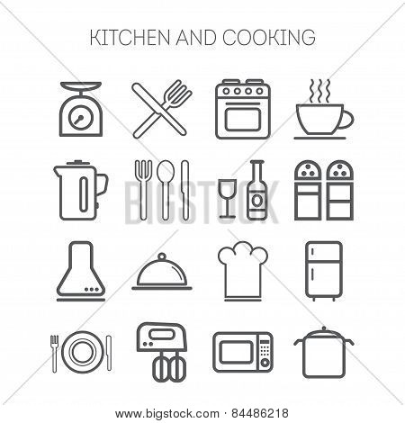 Set of simple icons for kitchen and cooking
