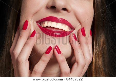 Close-up happy female smile