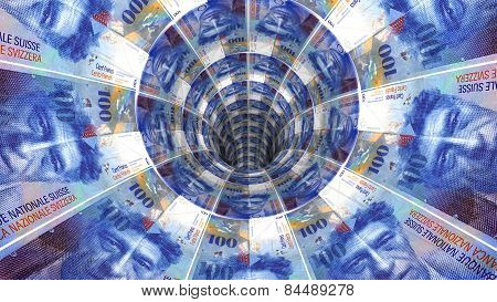 Money background from swiss franc