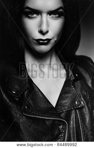 Black And White Portrait Of Woman In Jacket