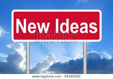 New Ideas road sign on blue sky