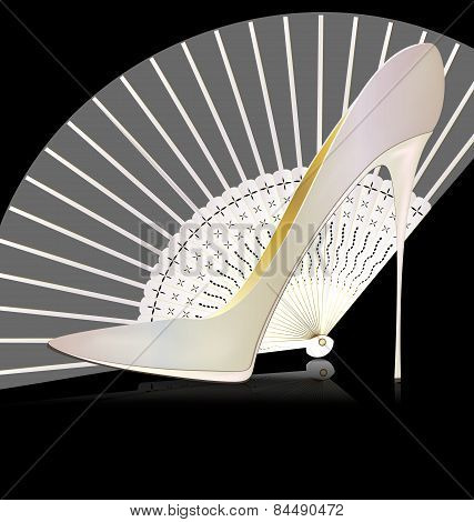 white shoe and fan