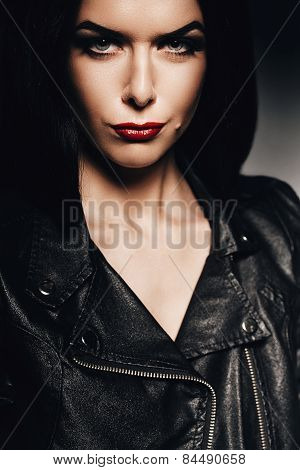 Hot Woman With Red Lips In Black Jacket