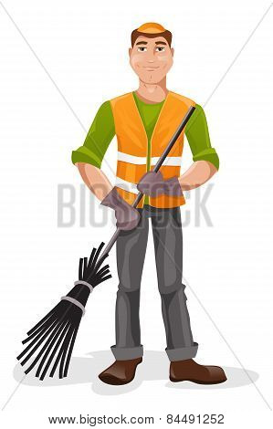Janitor With A Broom. Vector Illustration