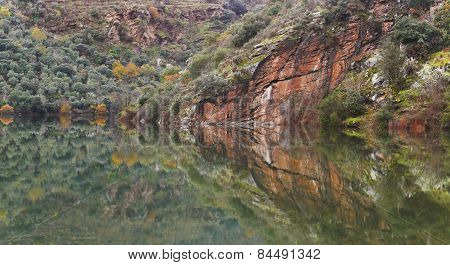 Landscape With Mountain Mirror Reflection On A Calm Lake