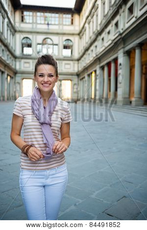 Portrait Of Happy Young Woman Near Uffizi Gallery In Florence, I