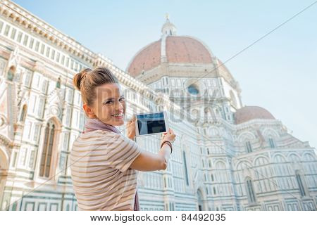 Happy Young Woman Taking Photo With Tablet Pc Of Cattedrale Di S