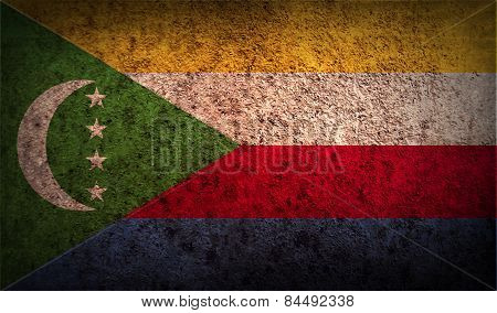 Flag Of Comoros With Old Texture. Vector