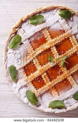 Italian Tart With Apricot Jam Close Up Vertical Top View