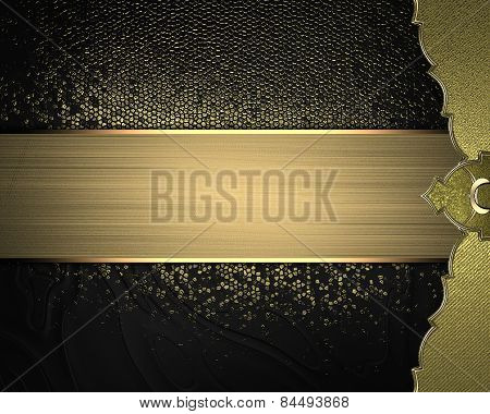 Black And Gold Background With A Gold Edge And Gold Ribbon. Design Template. Design Site