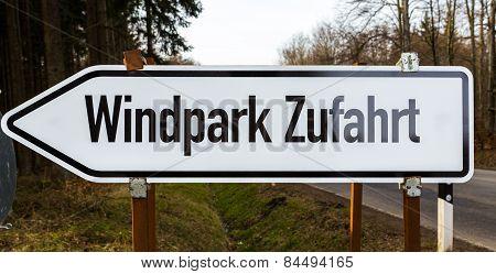 Wind Farm Sign In White Black