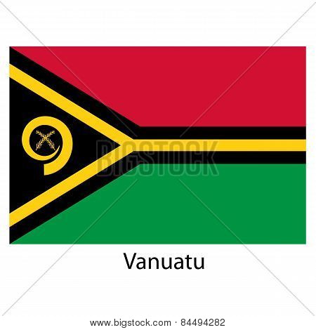 Flag  Of The Country  Vanuatu. Vector Illustration.