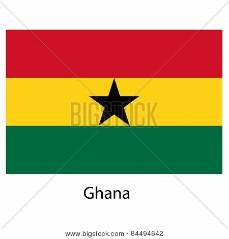 Flag  Of The Country  Ghana. Vector Illustration.