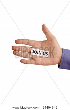 Hand Hold Paper With Join Us Writing