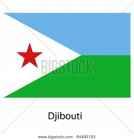Flag  Of The Country Djibouti. Vector Illustration.