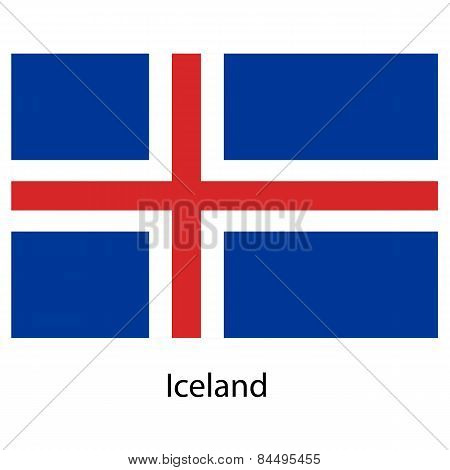 Flag  Of The Country  Iceland. Vector Illustration.