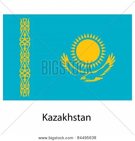Flag  Of The Country  Kazakhstan. Vector Illustration.