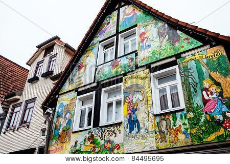 Painted house with scenes from the Grimm fairy tales in Steinau an der Straße, Germany