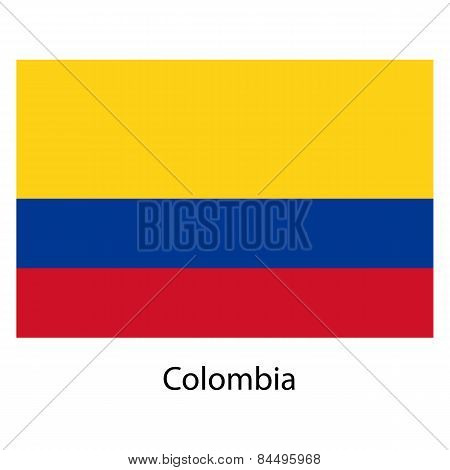 Flag  Of The Country  Colombia. Vector Illustration.