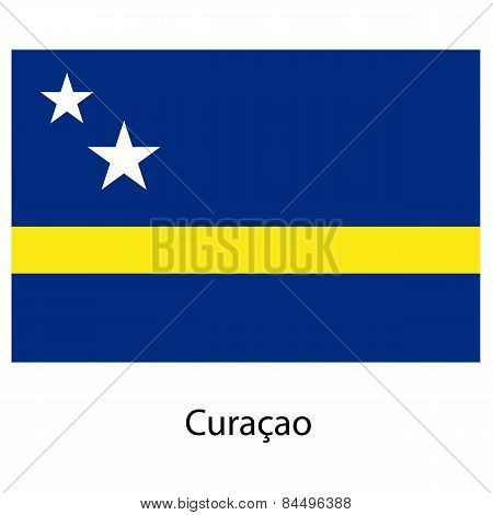 Flag  Of The Country  Curacao. Vector Illustration.