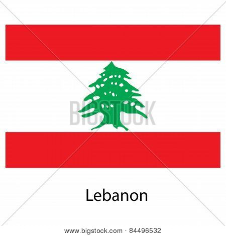 Flag  Of The Country  Lebanon. Vector Illustration.