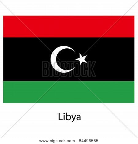 Flag  Of The Country  Libya. Vector Illustration.