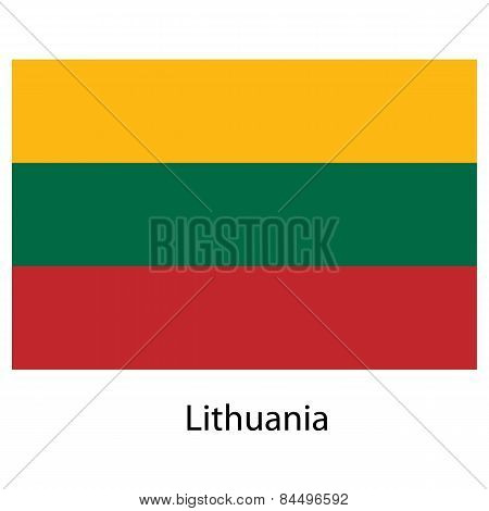 Flag  Of The Country  Lithuania. Vector Illustration.