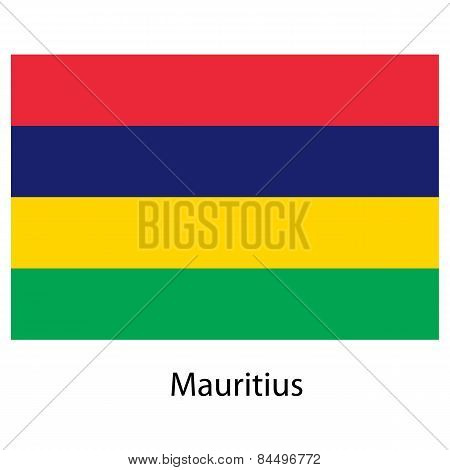 Flag  Of The Country  Mauritius. Vector Illustration.