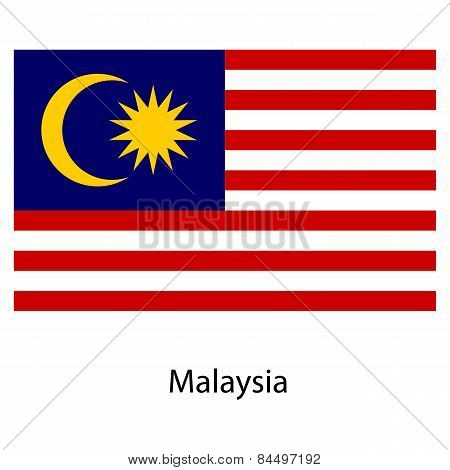 Flag  Of The Country  Malaysia. Vector Illustration.