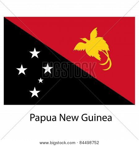 Flag  Of The Country  Papua New Guinea. Vector Illustration.