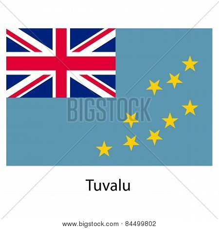 Flag  Of The Country  Tuvalu. Vector Illustration.