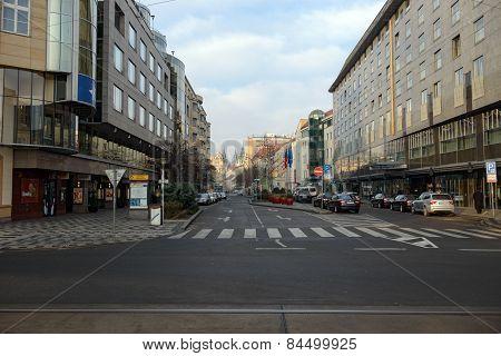 In Customs Street Toward Republic Square, Prague, Czech Republic.