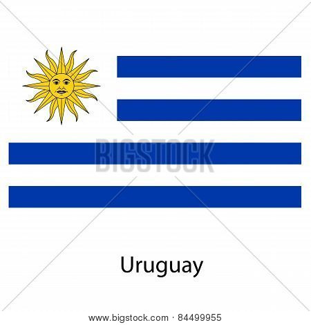 Flag  Of The Country Uruguay. Vector Illustration.