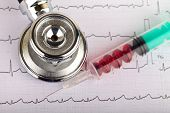 foto of electrocardiogram  - Electrocardiogram graph report with stethoscope and pills on it - JPG
