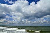 pic of cumulus-clouds  - Landscape of the Baltic sea and Cumulus clouds - JPG
