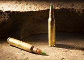 stock photo of ammo  - Small caliber rifle ammo that some think is armor piercing - JPG