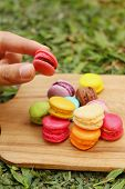 picture of picking tray  - Hand were picked colorful of macaron on a brown tray - JPG