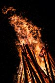 stock photo of bonfire  - Big bonfire at night - JPG