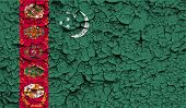 stock photo of turkmenistan  - Flag of Turkmenistan with old texture - JPG