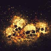 stock photo of morbid  - Skulls And Bones as Conceptual Spooky Horror Halloween image - JPG