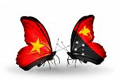 picture of papua new guinea  - Two butterflies with flags on wings as symbol of relations Vietnam and Papua New Guinea - JPG